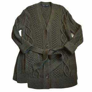 Proenza Schouler Cable Knit Wool Cardigan Sweater